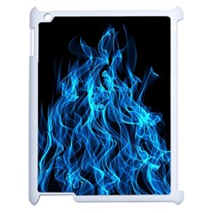 Digitally Created Blue Flames Of Fire Apple Ipad 2 Case (white) by Simbadda