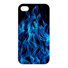 Digitally Created Blue Flames Of Fire Apple Iphone 4/4s Premium Hardshell Case by Simbadda