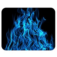 Digitally Created Blue Flames Of Fire Double Sided Flano Blanket (medium)  by Simbadda