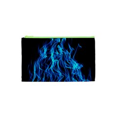 Digitally Created Blue Flames Of Fire Cosmetic Bag (xs) by Simbadda