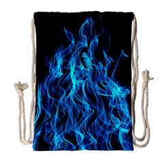 Digitally Created Blue Flames Of Fire Drawstring Bag (large)