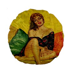 Pin Up Girl  Standard 15  Premium Round Cushions