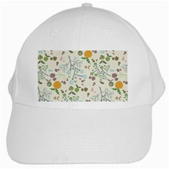 Floral Kraft Seamless Pattern White Cap by Simbadda