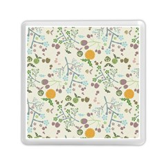 Floral Kraft Seamless Pattern Memory Card Reader (square)