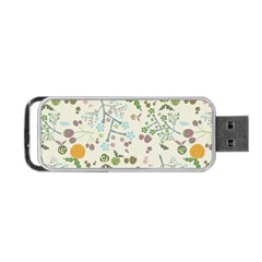 Floral Kraft Seamless Pattern Portable Usb Flash (two Sides) by Simbadda