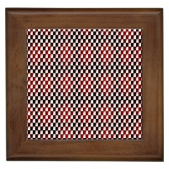 Squares Red Background Framed Tiles by Simbadda