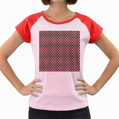 Squares Red Background Women s Cap Sleeve T Shirt