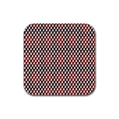 Squares Red Background Rubber Coaster (square)  by Simbadda