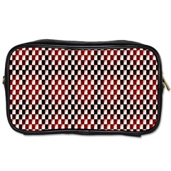 Squares Red Background Toiletries Bags 2 Side by Simbadda