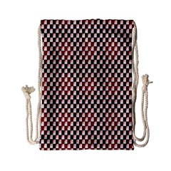 Squares Red Background Drawstring Bag (small) by Simbadda
