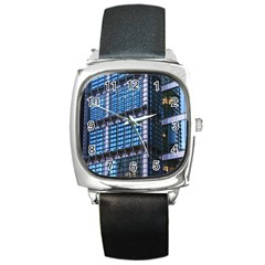 Modern Business Architecture Square Metal Watch by Simbadda