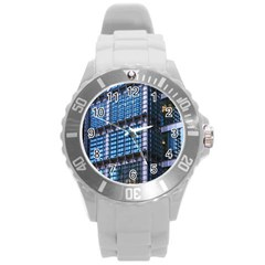Modern Business Architecture Round Plastic Sport Watch (l) by Simbadda