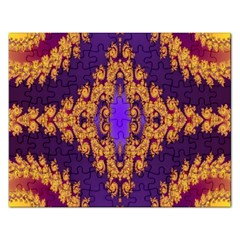 Something Different Fractal In Orange And Blue Rectangular Jigsaw Puzzl by Simbadda