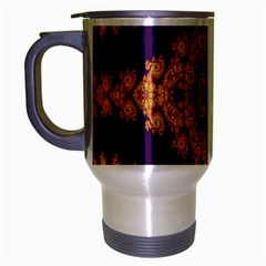 Something Different Fractal In Orange And Blue Travel Mug (silver Gray) by Simbadda