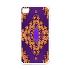 Something Different Fractal In Orange And Blue Apple Iphone 4 Case (white)
