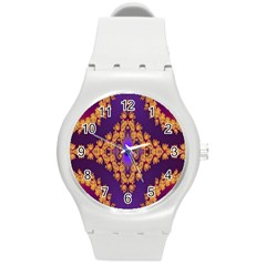 Something Different Fractal In Orange And Blue Round Plastic Sport Watch (m) by Simbadda