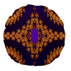 Something Different Fractal In Orange And Blue Large 18  Premium Round Cushions by Simbadda