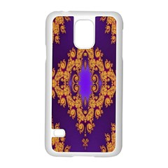 Something Different Fractal In Orange And Blue Samsung Galaxy S5 Case (white) by Simbadda