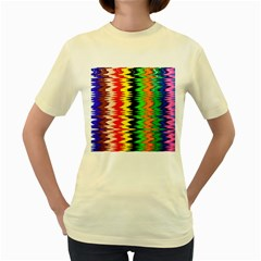 Colorful Liquid Zigzag Stripes Background Wallpaper Women s Yellow T Shirt