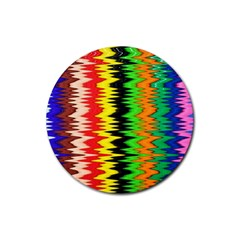 Colorful Liquid Zigzag Stripes Background Wallpaper Rubber Coaster (round)  by Simbadda