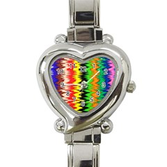 Colorful Liquid Zigzag Stripes Background Wallpaper Heart Italian Charm Watch by Simbadda