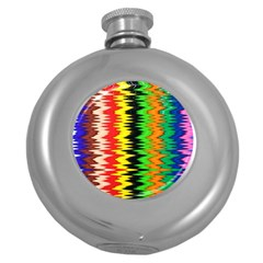 Colorful Liquid Zigzag Stripes Background Wallpaper Round Hip Flask (5 Oz) by Simbadda