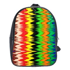 Colorful Liquid Zigzag Stripes Background Wallpaper School Bags(large)  by Simbadda
