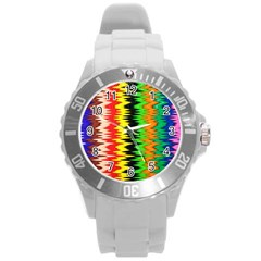 Colorful Liquid Zigzag Stripes Background Wallpaper Round Plastic Sport Watch (l) by Simbadda