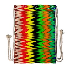 Colorful Liquid Zigzag Stripes Background Wallpaper Drawstring Bag (large) by Simbadda