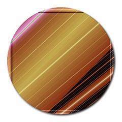 Diagonal Color Fractal Stripes In 3d Glass Frame Round Mousepads by Simbadda