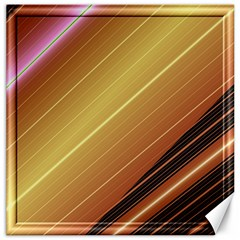 Diagonal Color Fractal Stripes In 3d Glass Frame Canvas 20  X 20   by Simbadda
