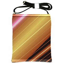 Diagonal Color Fractal Stripes In 3d Glass Frame Shoulder Sling Bags by Simbadda
