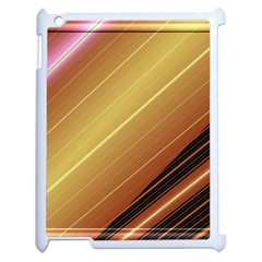 Diagonal Color Fractal Stripes In 3d Glass Frame Apple Ipad 2 Case (white) by Simbadda