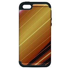 Diagonal Color Fractal Stripes In 3d Glass Frame Apple Iphone 5 Hardshell Case (pc+silicone) by Simbadda