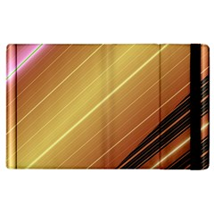 Diagonal Color Fractal Stripes In 3d Glass Frame Apple Ipad 3/4 Flip Case by Simbadda