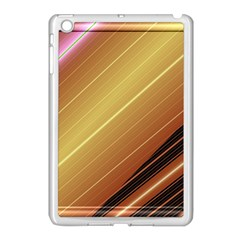 Diagonal Color Fractal Stripes In 3d Glass Frame Apple Ipad Mini Case (white)