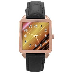 Diagonal Color Fractal Stripes In 3d Glass Frame Rose Gold Leather Watch