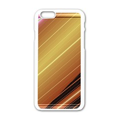 Diagonal Color Fractal Stripes In 3d Glass Frame Apple Iphone 6/6s White Enamel Case by Simbadda
