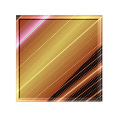 Diagonal Color Fractal Stripes In 3d Glass Frame Small Satin Scarf (square) by Simbadda