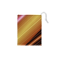 Diagonal Color Fractal Stripes In 3d Glass Frame Drawstring Pouches (xs)  by Simbadda