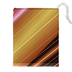 Diagonal Color Fractal Stripes In 3d Glass Frame Drawstring Pouches (xxl)