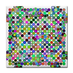 Colorful Dots Balls On White Background Tile Coasters by Simbadda