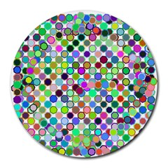 Colorful Dots Balls On White Background Round Mousepads