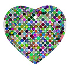 Colorful Dots Balls On White Background Ornament (heart) by Simbadda