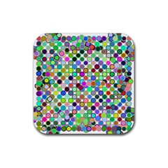 Colorful Dots Balls On White Background Rubber Coaster (square)  by Simbadda