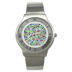 Colorful Dots Balls On White Background Stainless Steel Watch by Simbadda