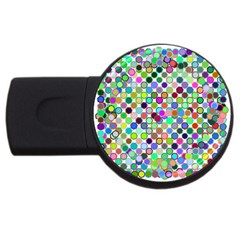 Colorful Dots Balls On White Background Usb Flash Drive Round (4 Gb) by Simbadda