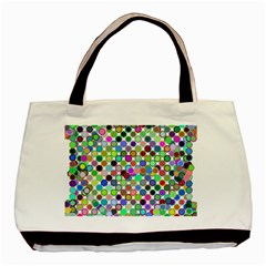Colorful Dots Balls On White Background Basic Tote Bag by Simbadda