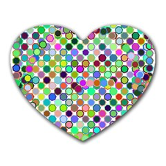 Colorful Dots Balls On White Background Heart Mousepads by Simbadda