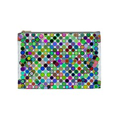 Colorful Dots Balls On White Background Cosmetic Bag (medium)  by Simbadda